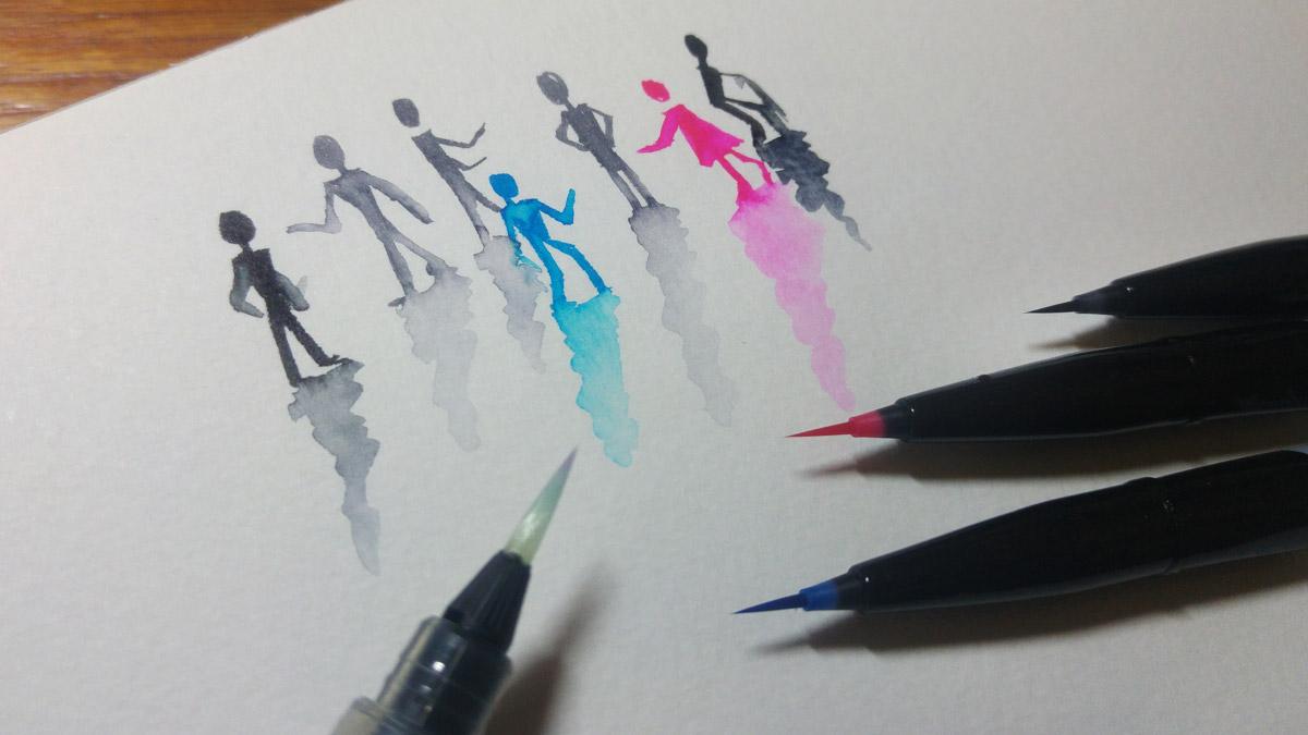 Die vier Farben aus dem Pentel Brush Sign Pen Artist Sets jeweils mit Wasser angelöst.