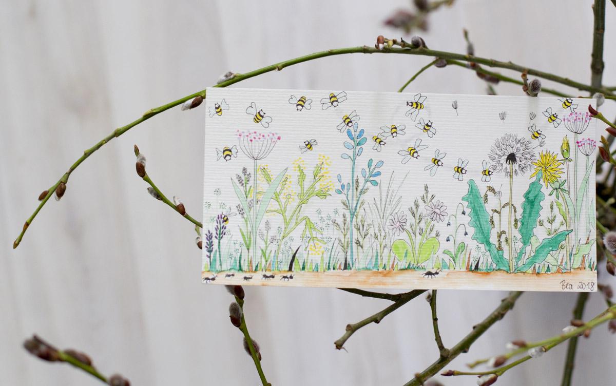 Nicht nur nützliche Bienen zeigt die Karte von Beatrix @beaskunst
