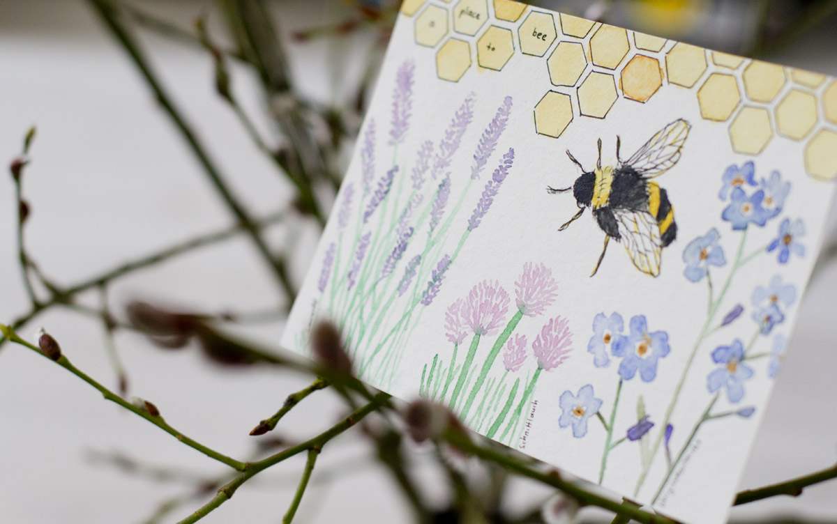 Arianes Karte zeigt die Pflanzen auf ihrem Balkon, die von den Bienen sehr gerne besucht werden.