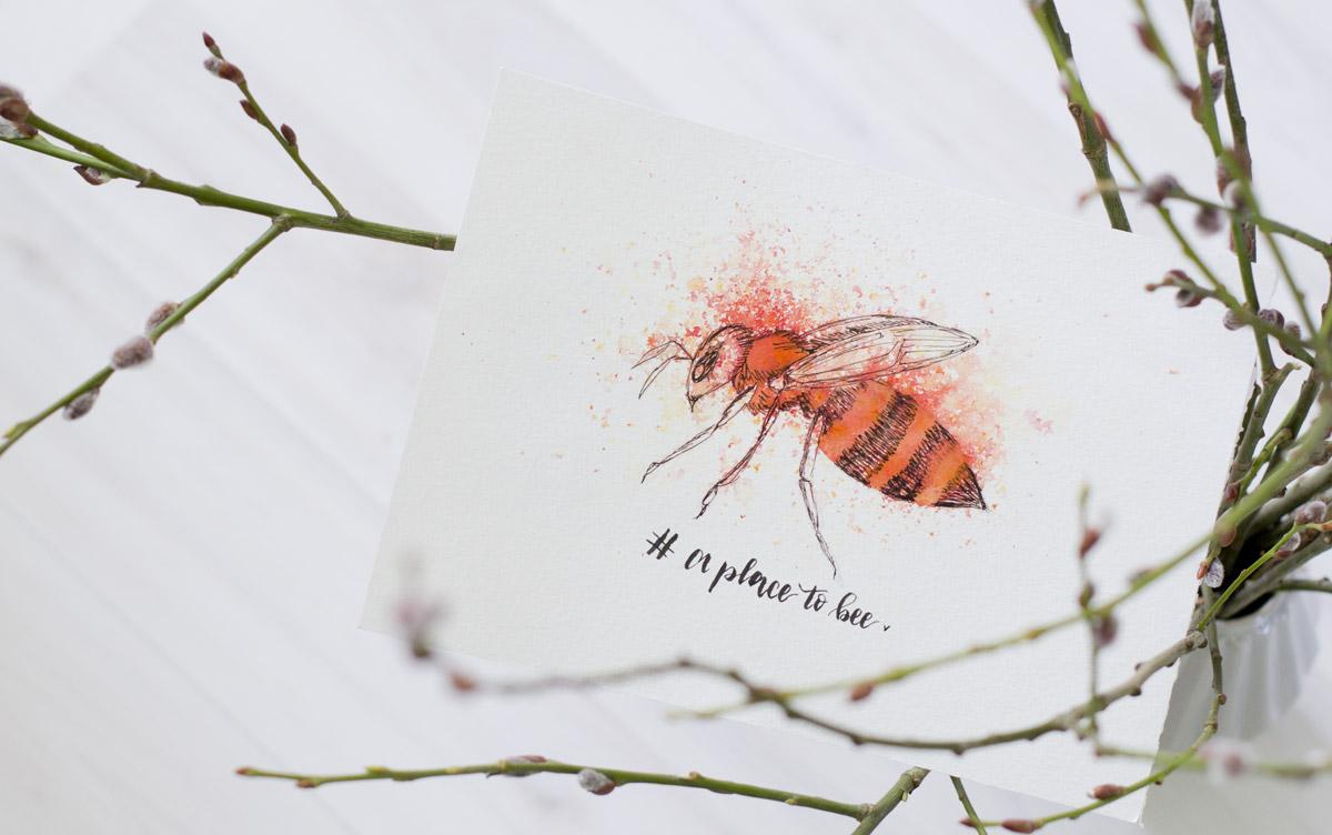 Eine Biene wie in einer Pollenexplosion habe ich von Nina erhalten. @stickynote.lettering
