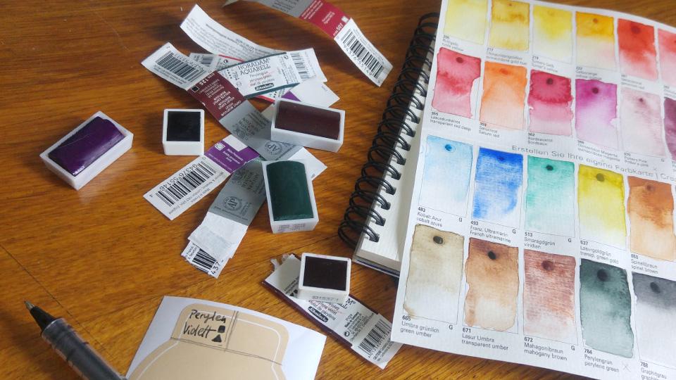 Um Chaos zu vermeiden werden meine neuen Farben von Schmincke Horadam mit einem Etikett versehen.