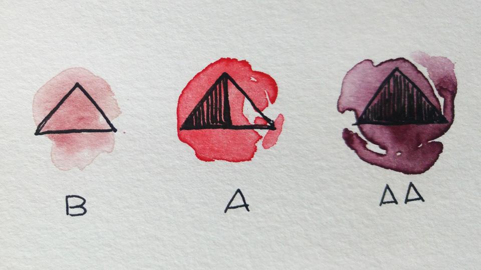 Wie gut sich Aquarellfarben wieder anlösen lassen bzw. wie permanent sie sind kann man z.B. an diesem Dreieck erkennen.