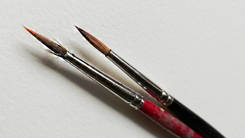 Eine Pinselspitze mit restlicher Farbe bei der sich die Haare abspreizen, neben einer sauberen Pinselspitze. Foto: Anna Moser