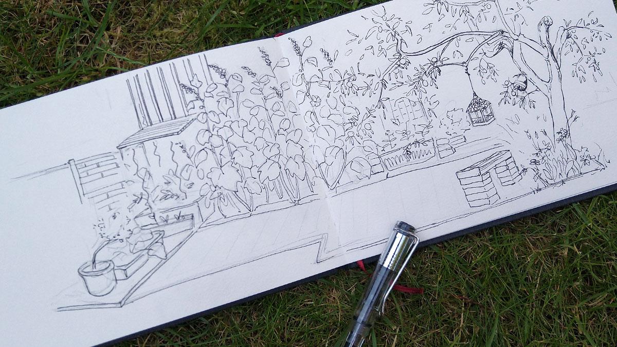 Mein Garten ohne Betonung auf die Blüten der Stockrosen oder die Pfirsiche – aber als Panorama mit Outlines gezeichnet.