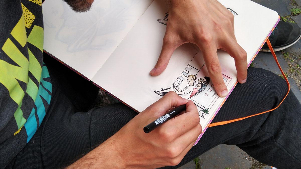 …eike zeichnete uns derweil in sein Skizzenbuch.