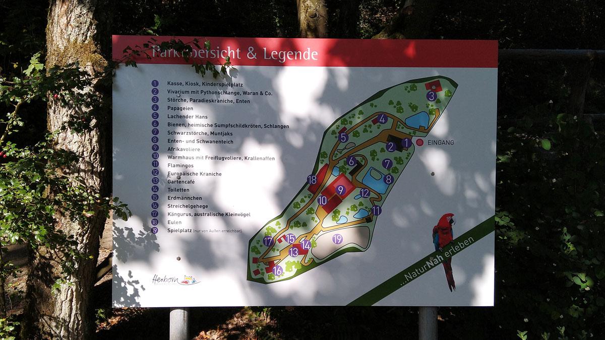 Der Lageplan des Tier- und Vogelparks in Herborn Uckersdorf.