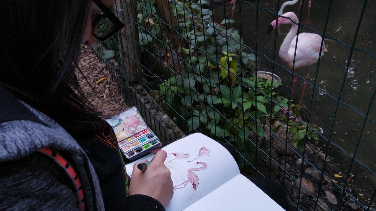 Kathrin und Annabel hatte es zum Schluss noch zu den Flamingos verschlagen.