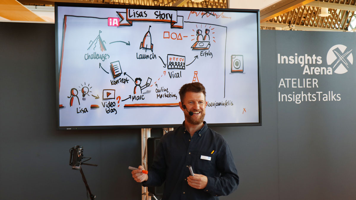 Graphic Recording Workshop auf der Insights-X mit Benjamin Felis.