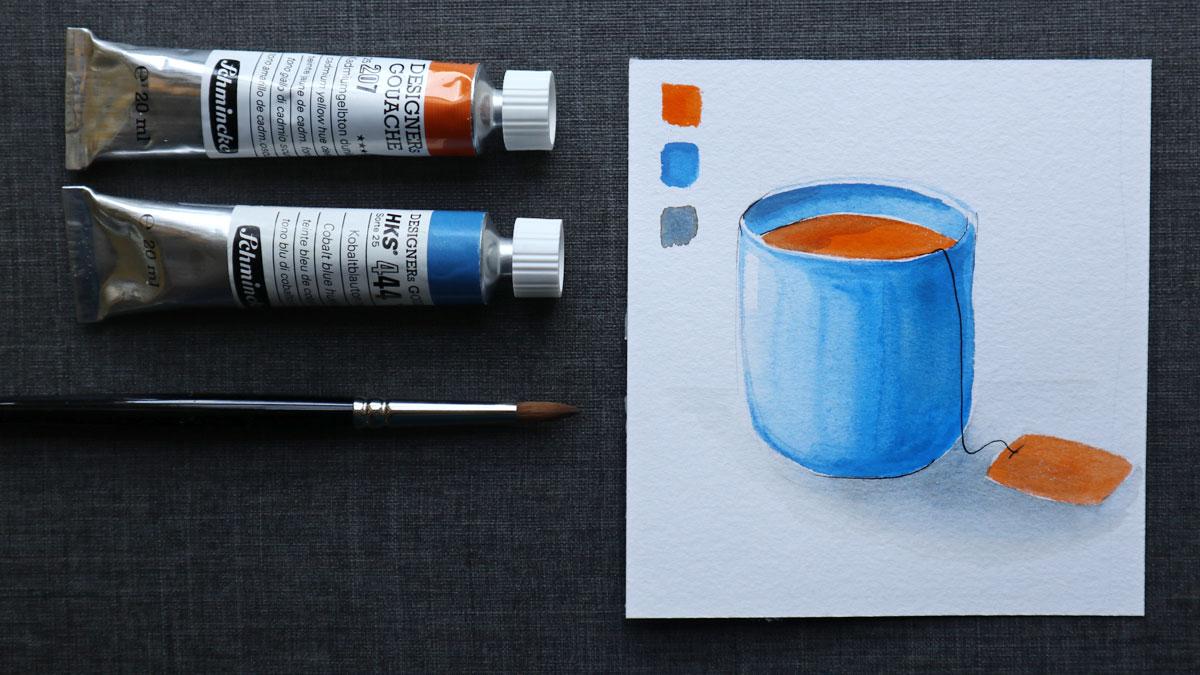 Gouache: Mischen mit zwei komplementären Farben.
