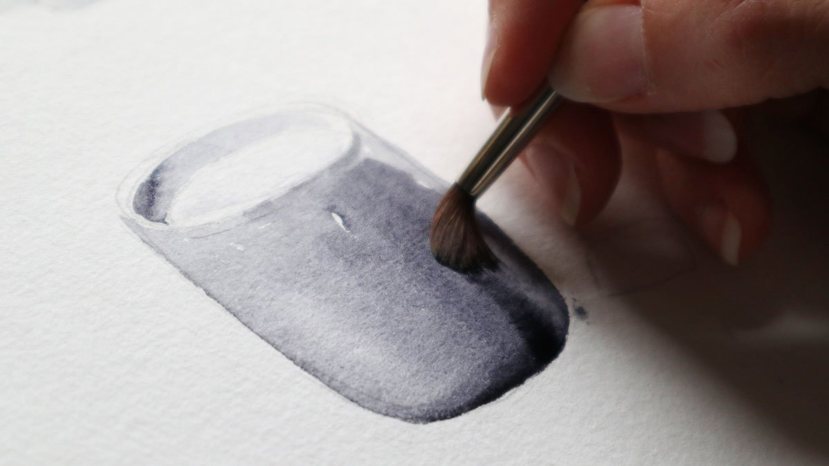 Monochromes aquarellieren mit Neutralfarbe.