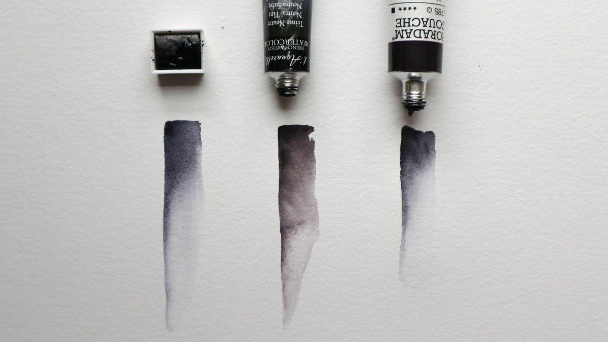 Neutralfarbe von drei Herstellern: Winsor and Newton, Sennelier und Schmincke als Gouache.