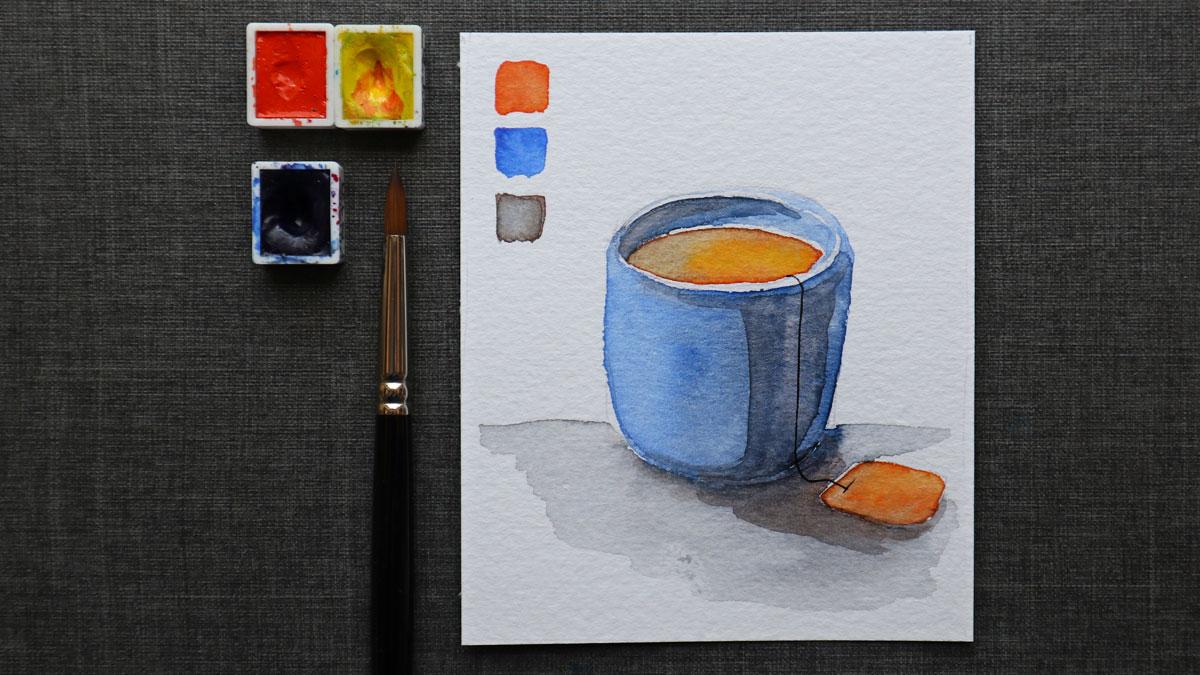 Abgetönte Schatten durch das Mischen von Orange in den Blauton.