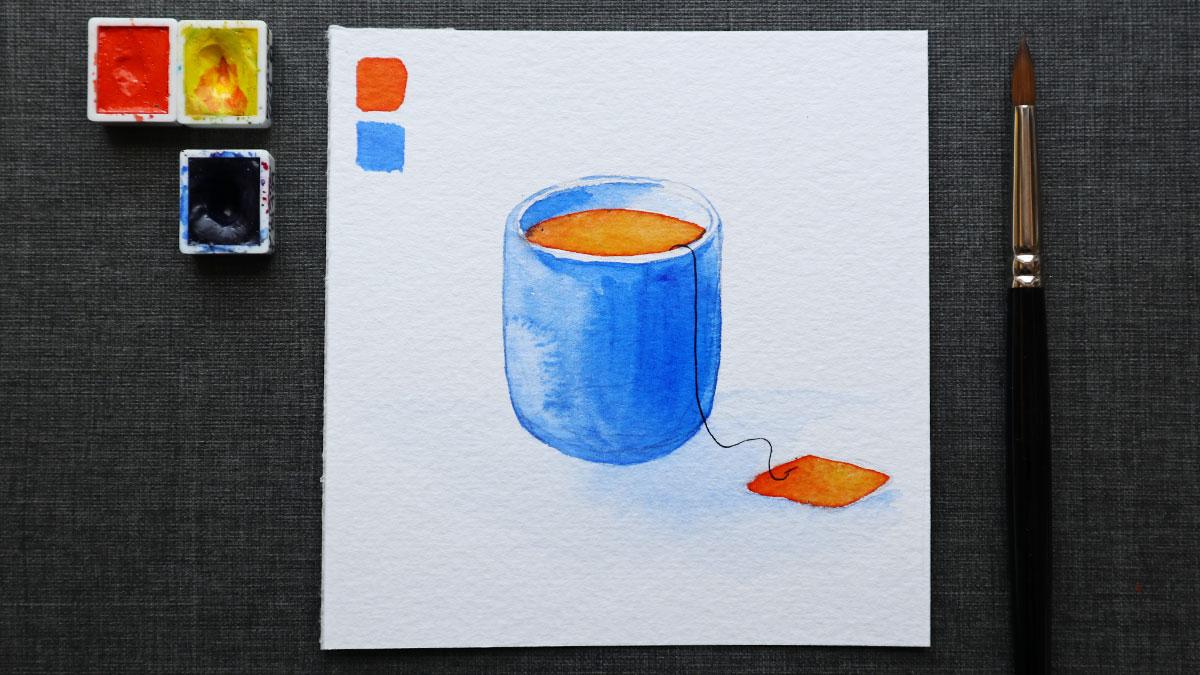 Die Tasse rein aus den beiden komplementären Farben Blau und Orange.