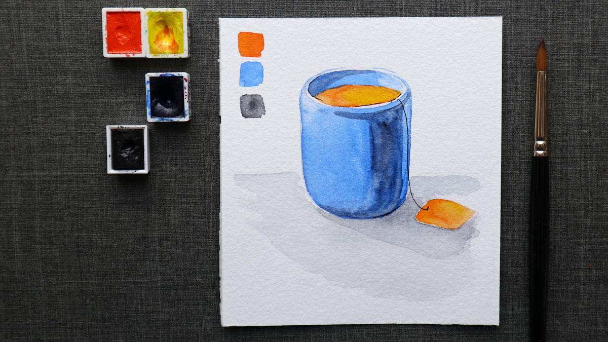 Übermalen der Schatten mit Neutraltinte nach dem Trocknen der blauen Farbe.