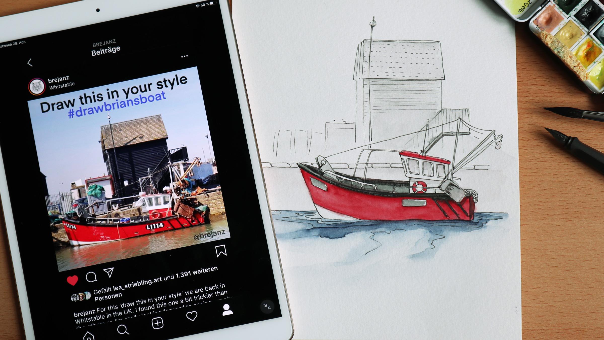 """""""Draw Brians Boat"""" die Vorlage von Brejanz und meine kolorierte Version."""