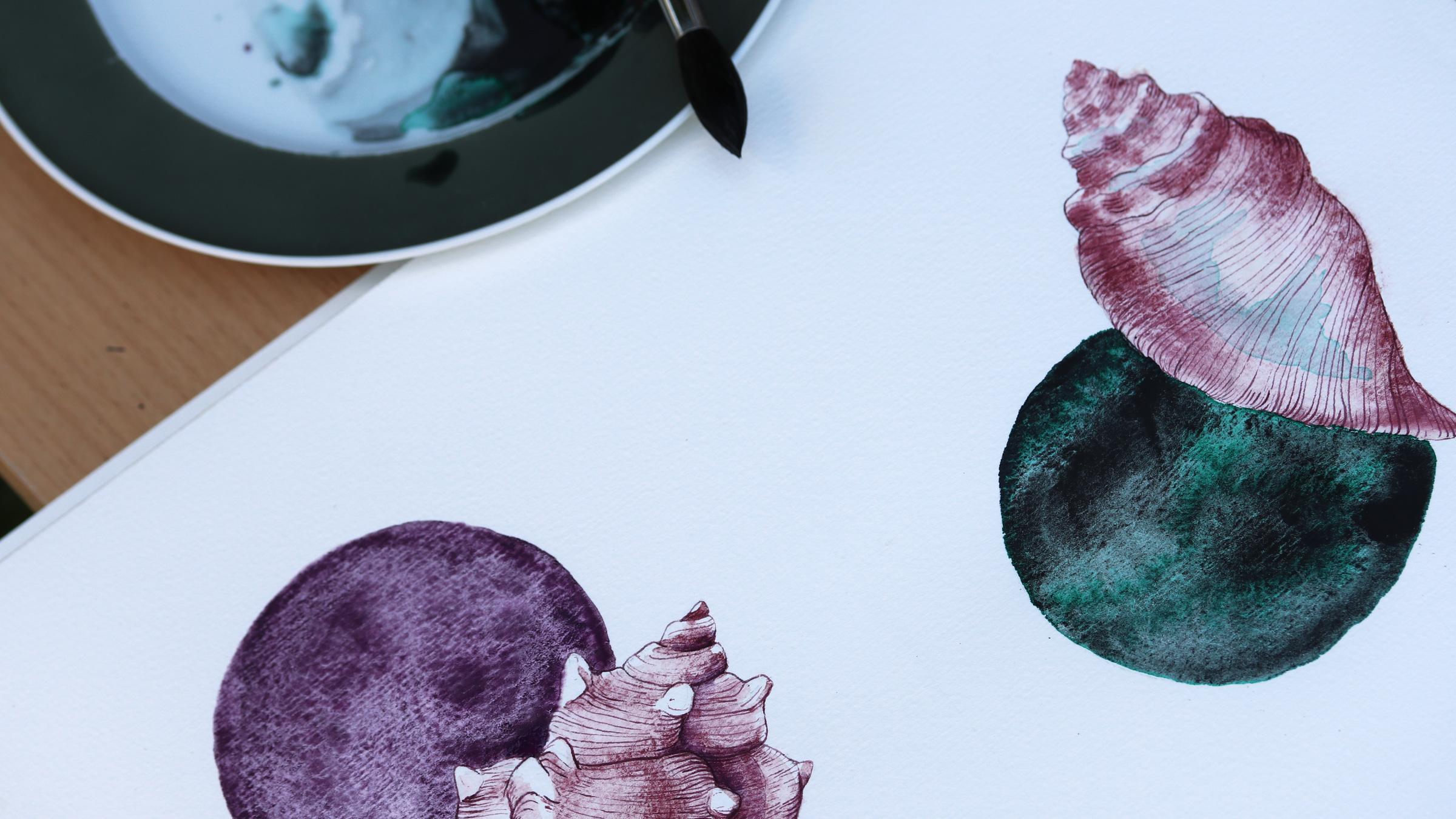 Granulierende Aquarellfarbe – Purpurschnecke und Flügelschnecke: Schmincke Potters Pink mit und Daniel Smith PrimaTek Purpurite Genuine und Rembrandt Dämmerungsgrün.