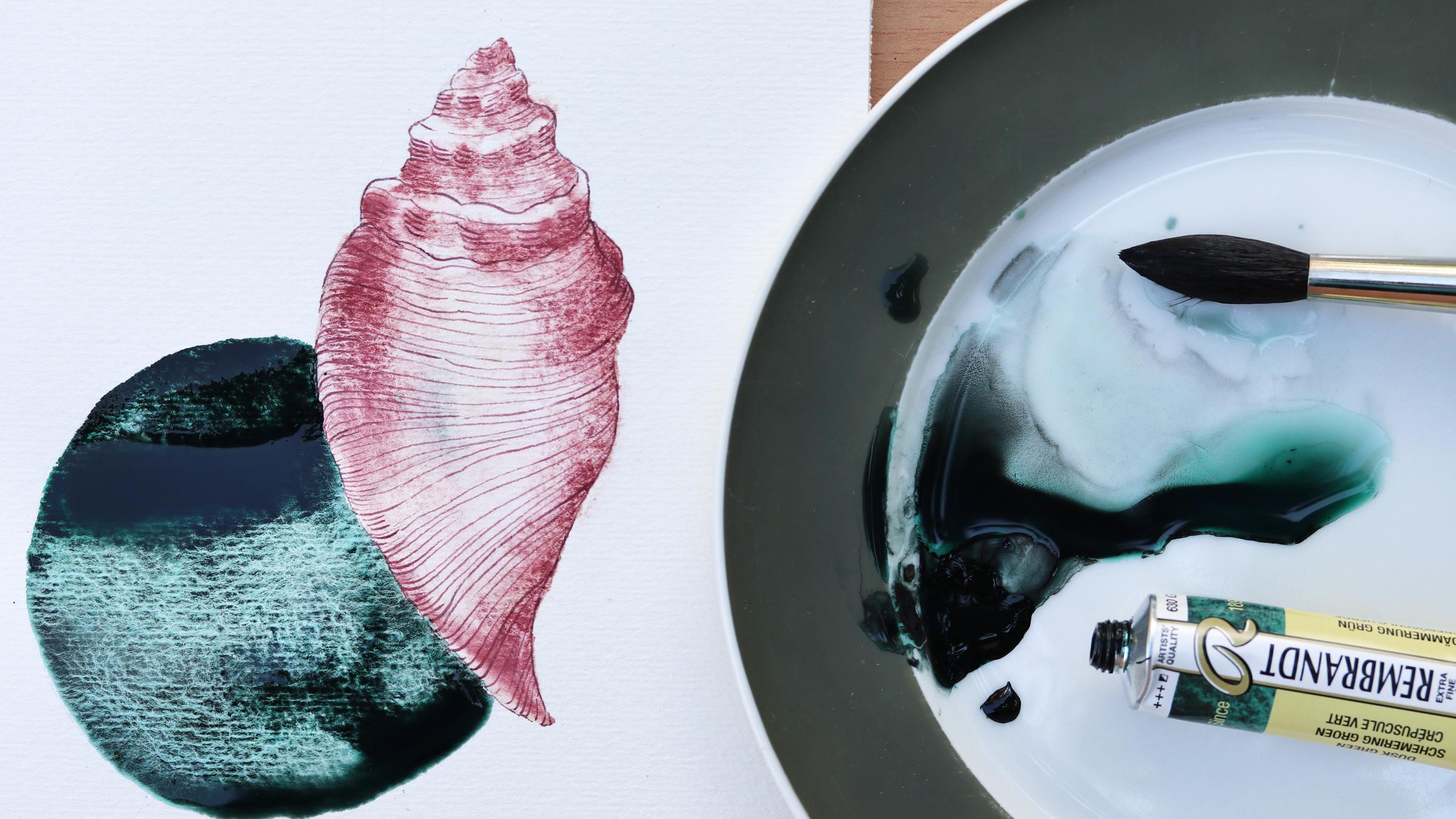Granulierende Aquarellfarbe – Flügelschnecke: Schmincke Potters Pink und Dämmerungsgrün von Rembrandt