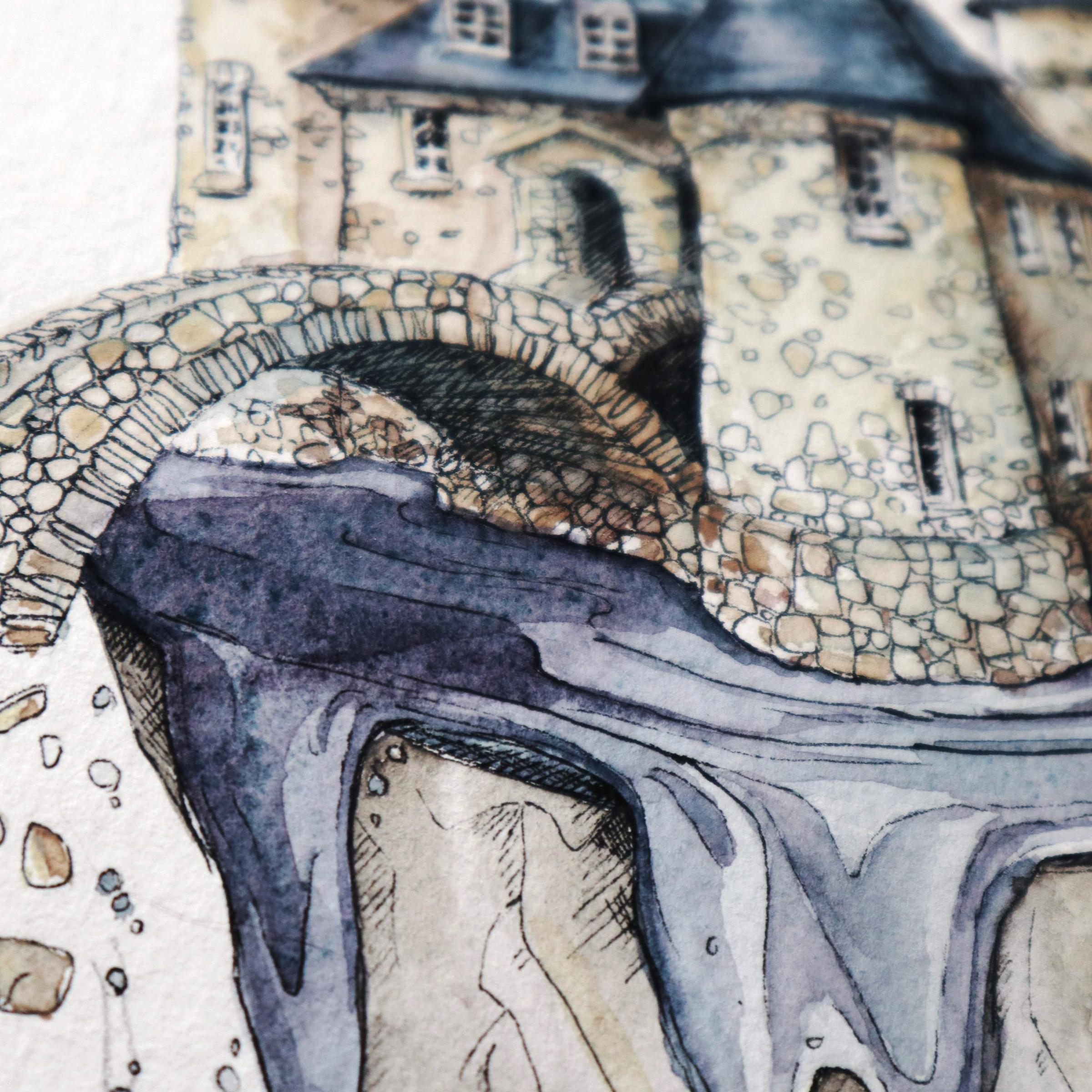 Detailansicht der Brücke zum Pumpenhaus von Boldt Castle mit dem Wasser in Moonglow.
