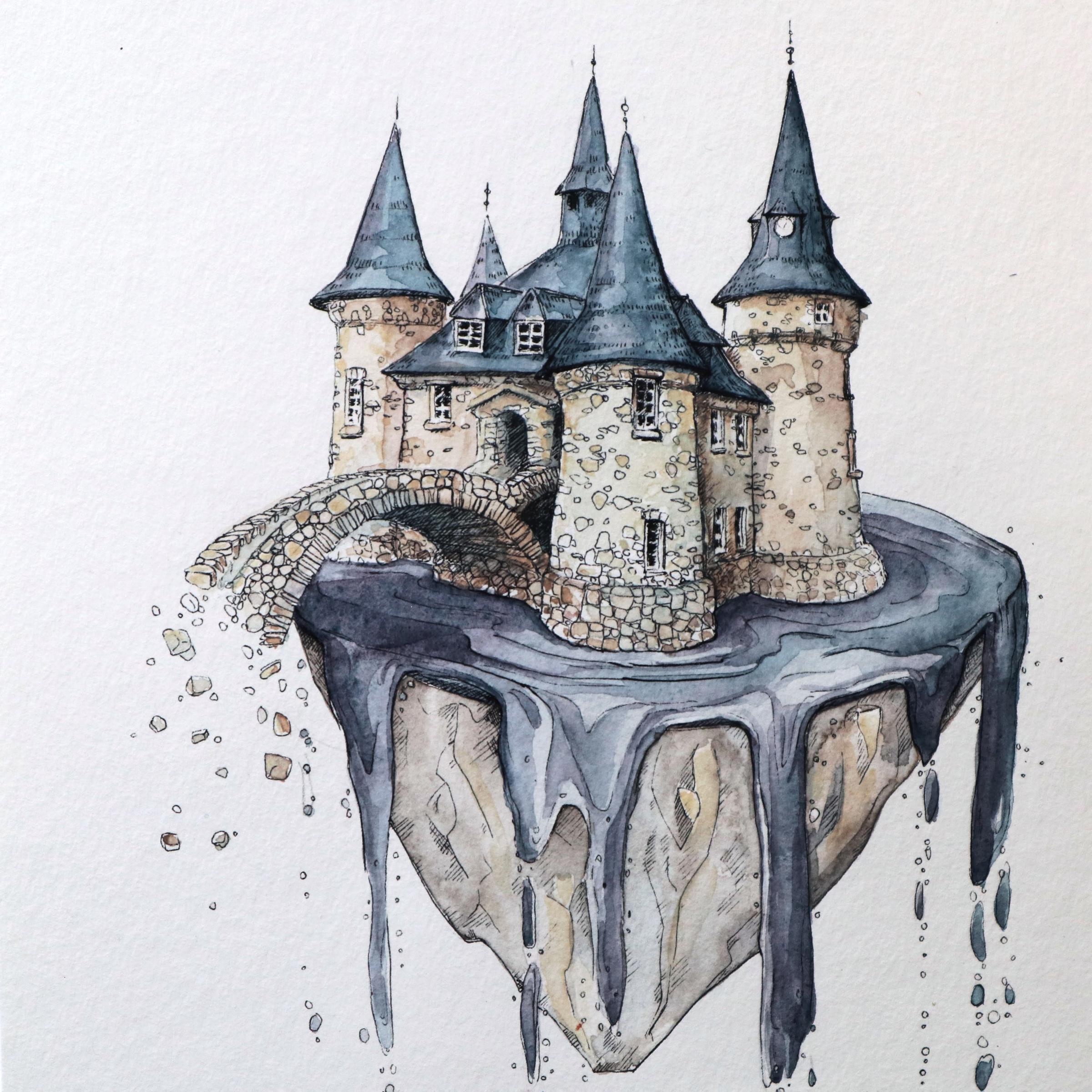 Mauerwerk mit Grau- und Brauntönen warm gehalten, während Ziegel und Wasser mit kälteren Blau-Violetttönen koloriert sind.
