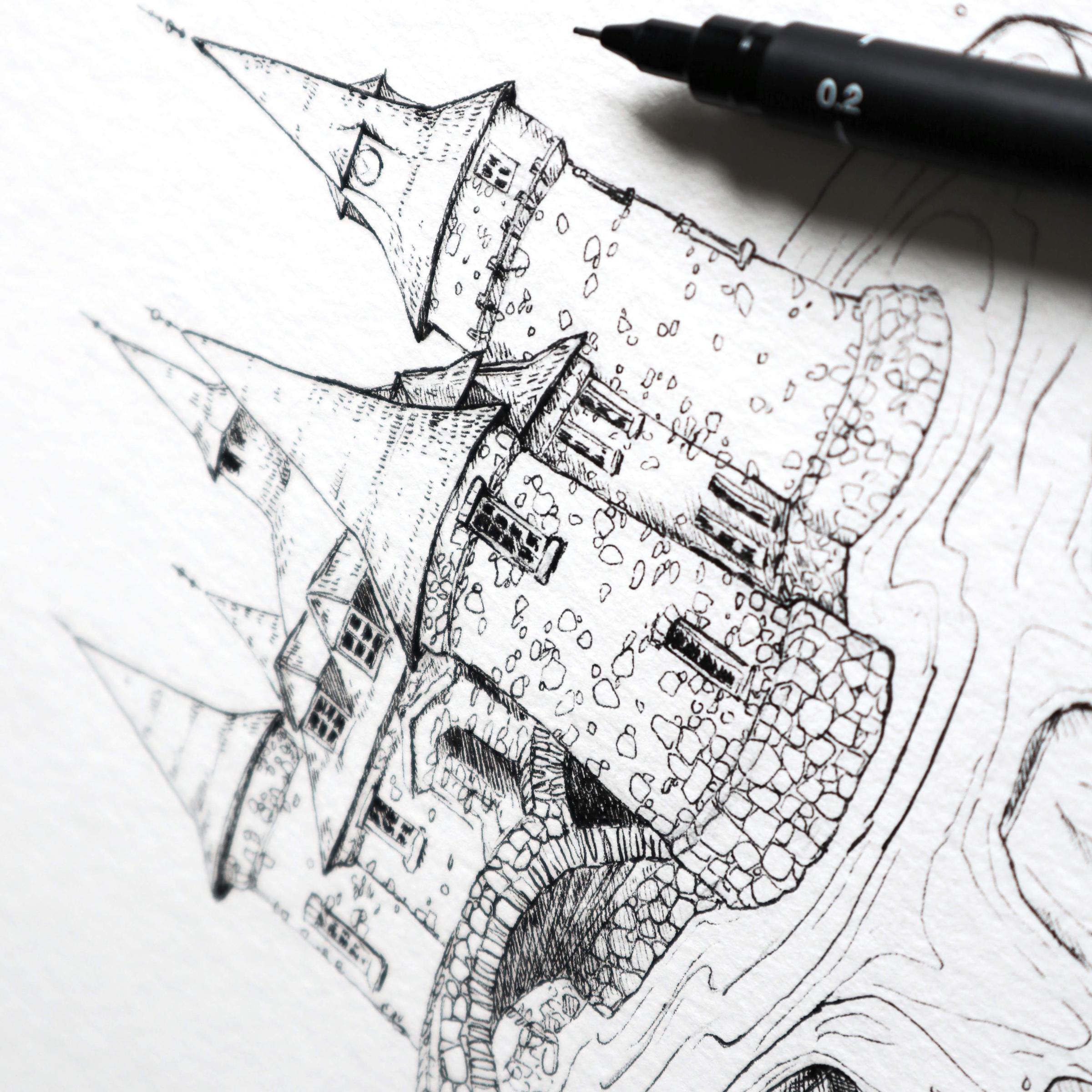 Die Finelinerzeichnung vom Pumpenhaus auf Heart Island, New York.