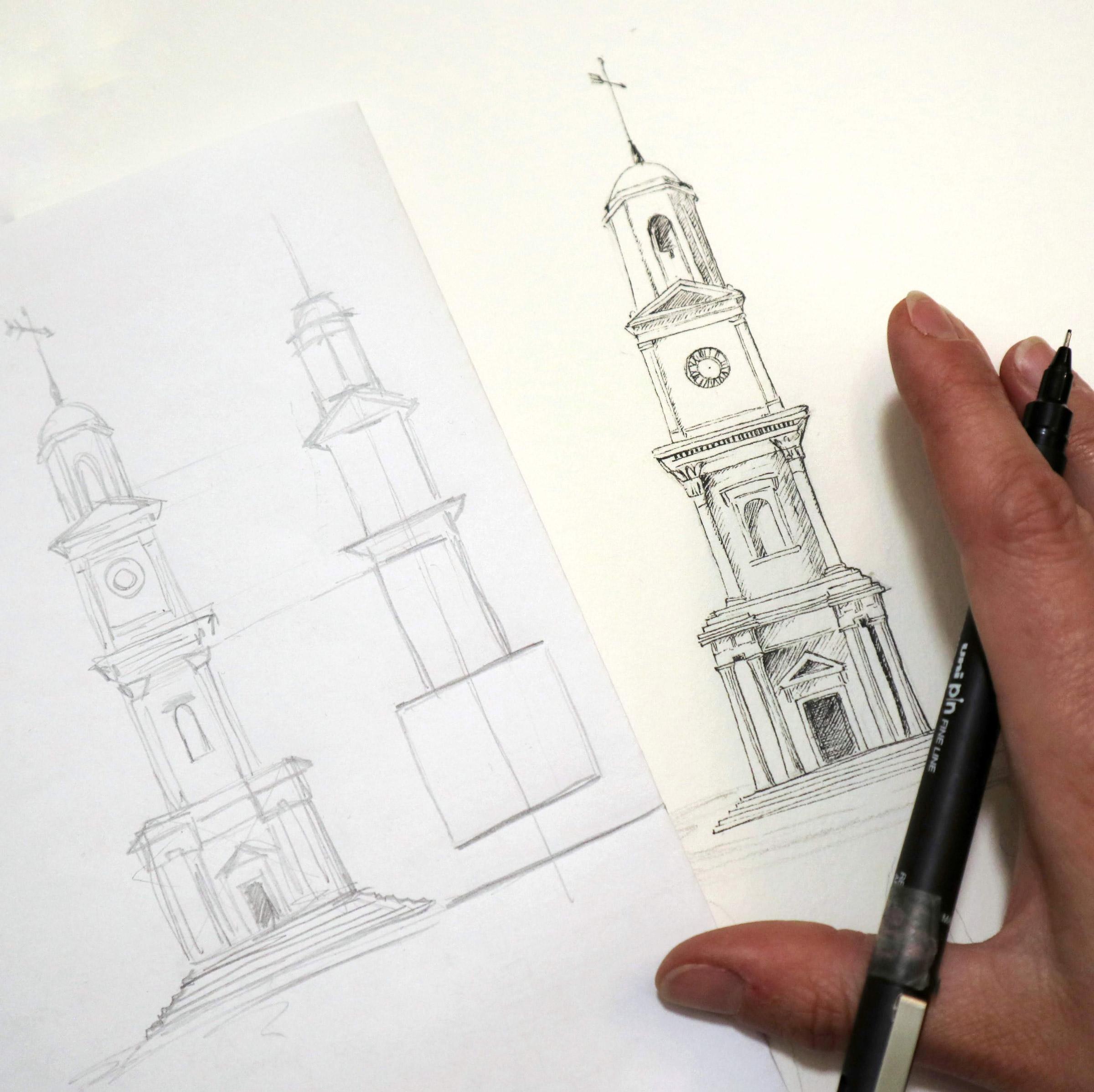 Vorzeichnung des Glockenturms zur Findung der richtigen Proportionen und Perspektive.