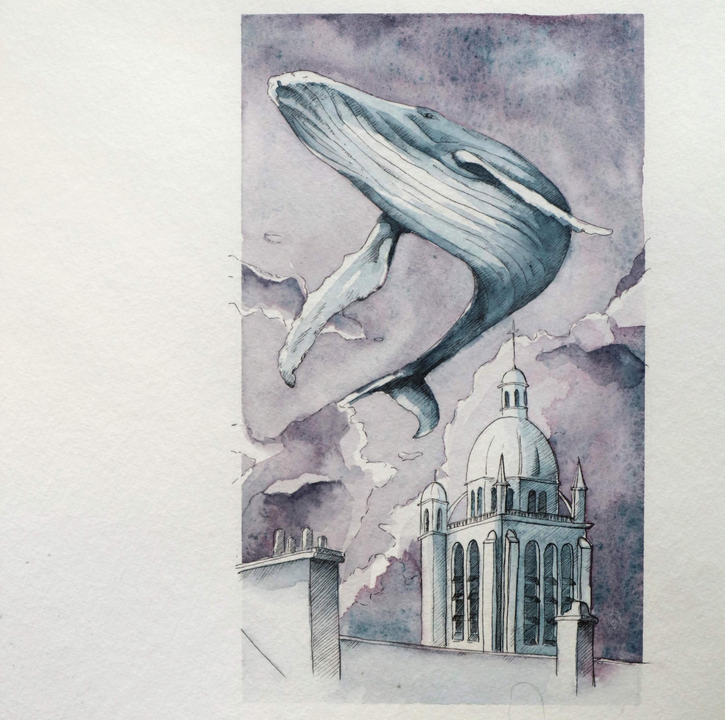Der Wal schwebt über der Kathedrale Notre Dame des Miracles in Orleans durch den Abendhimmel.