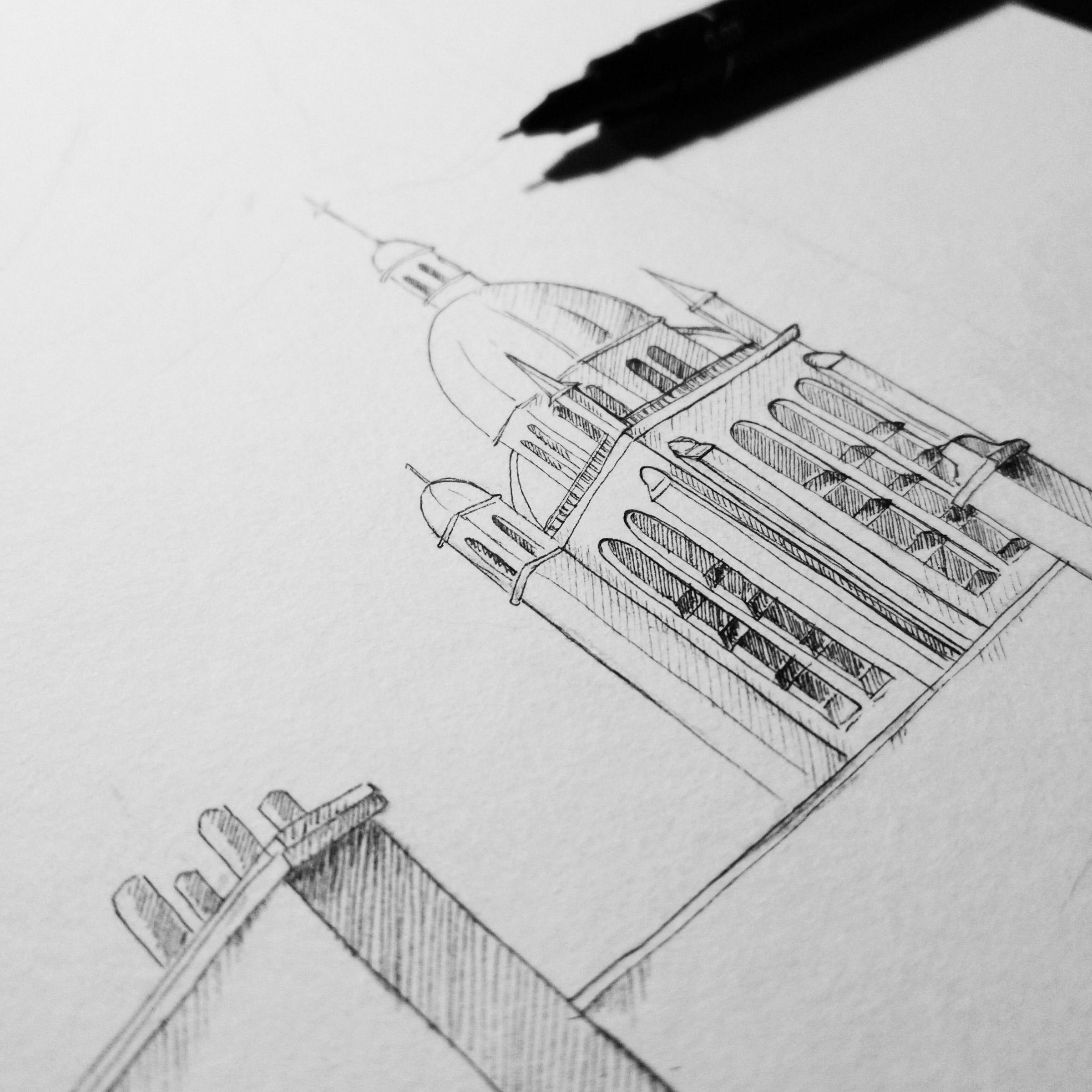 Finelinerzeichnung der Kathedrale Notre Dame des Miracles in Orleans, Frankreich, nach einer Vorlage von Stablo.