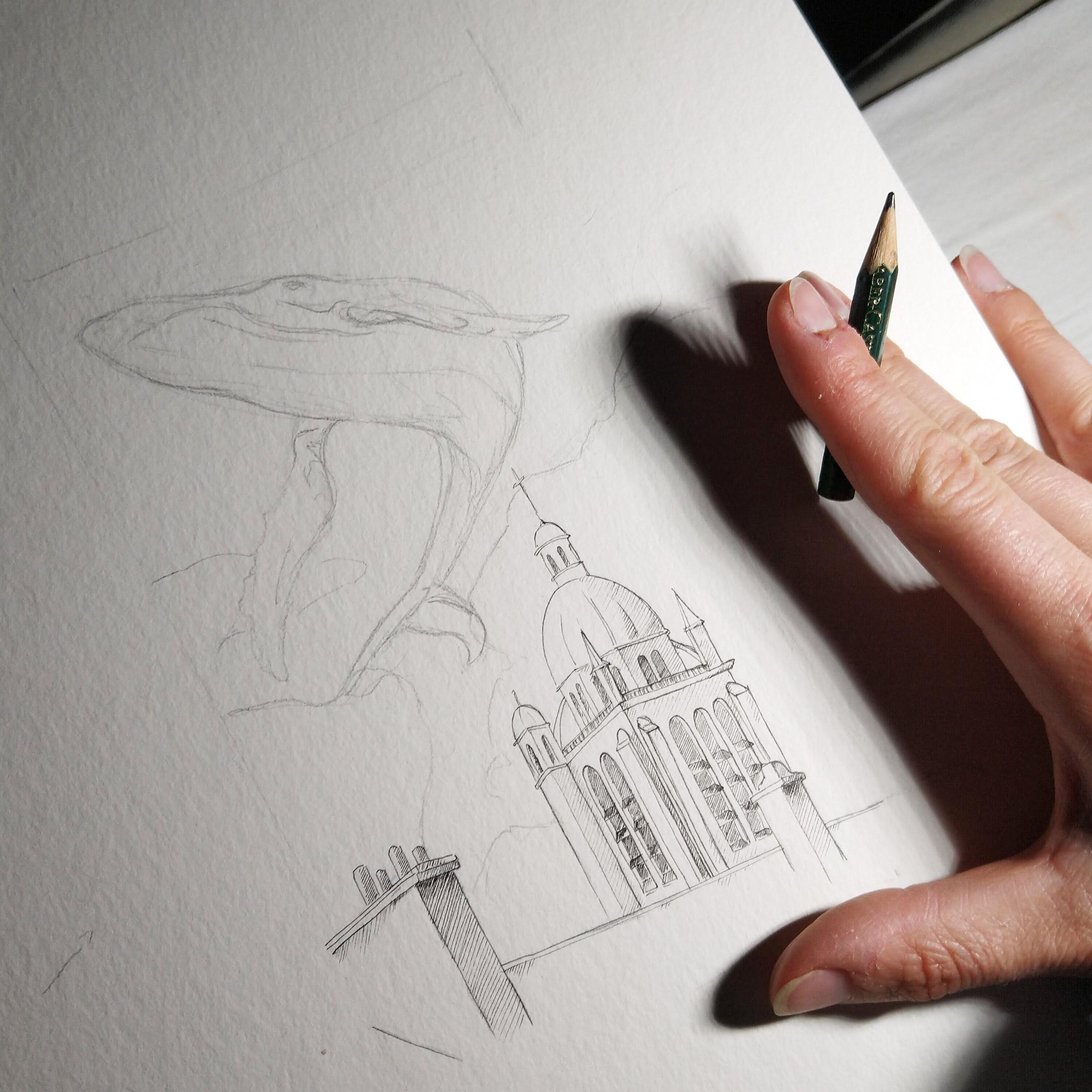 Work in Progress: Zeichnung Notre Dame de Miracles mit Skizze des Wales darüber.