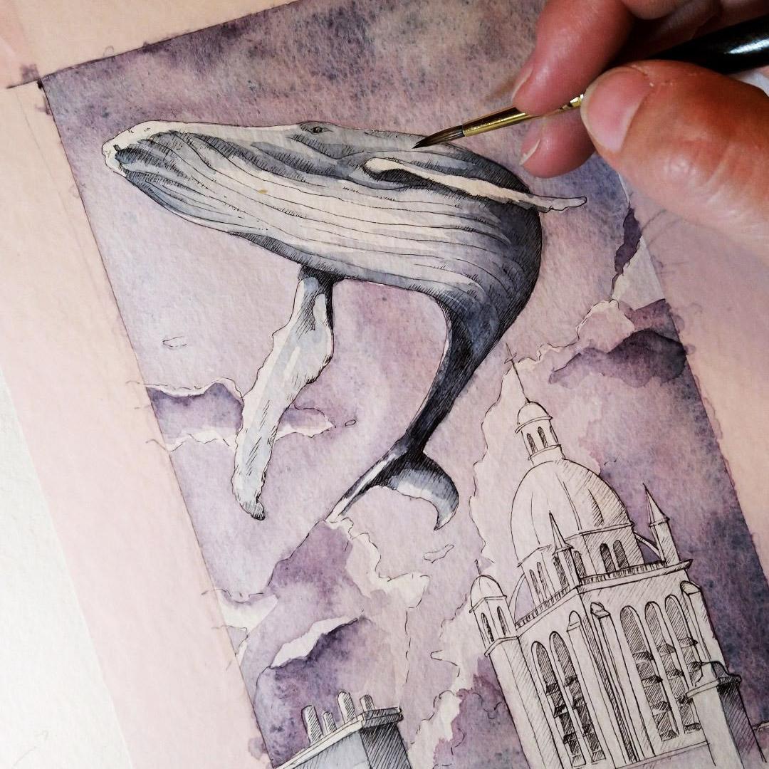 Work in Progress: Der Wal wird mit Paynes Grey koloriert um sich vom Himmel in Moonglow abzuheben.