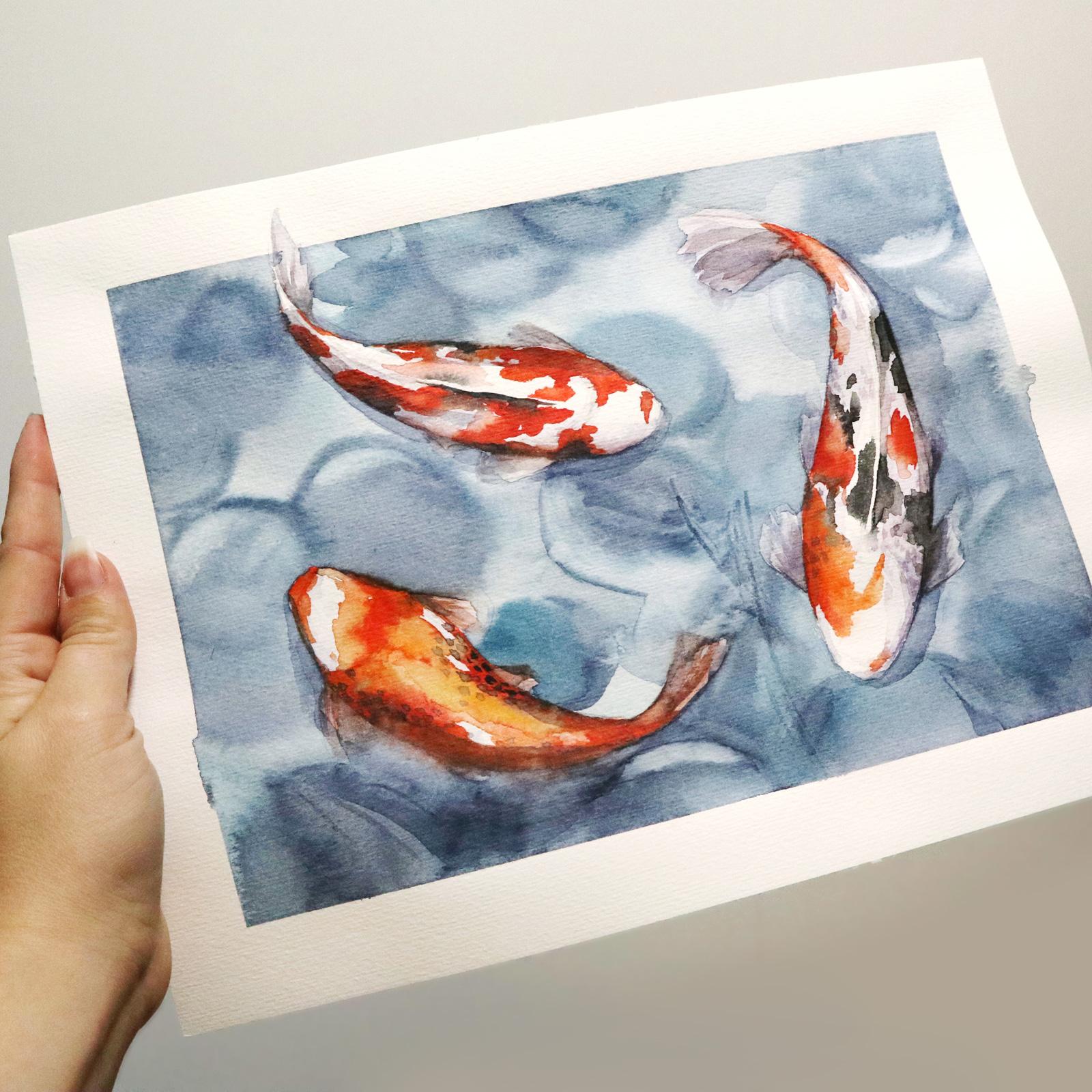 Koi-Karpfen Illustration nach dem Videotutorial von Maria Smirnova auf ArtHustle.org