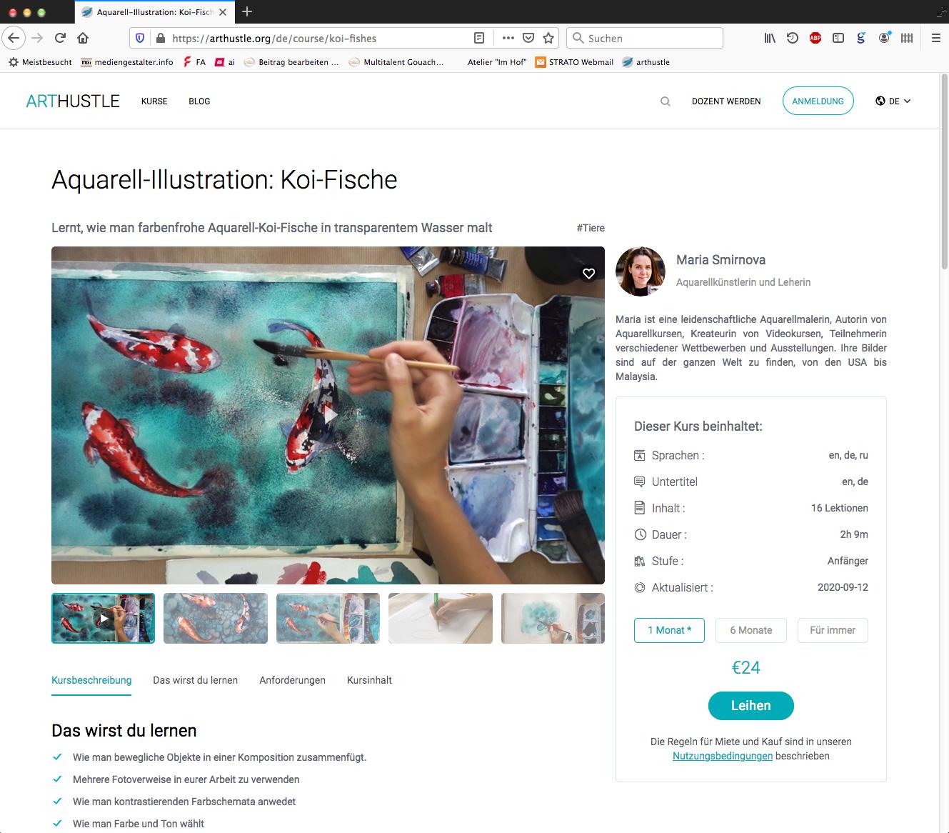 Aquarell-Illustration: Koi-Fische von Maria Smirnova auf der Plattform ArtHustle.org