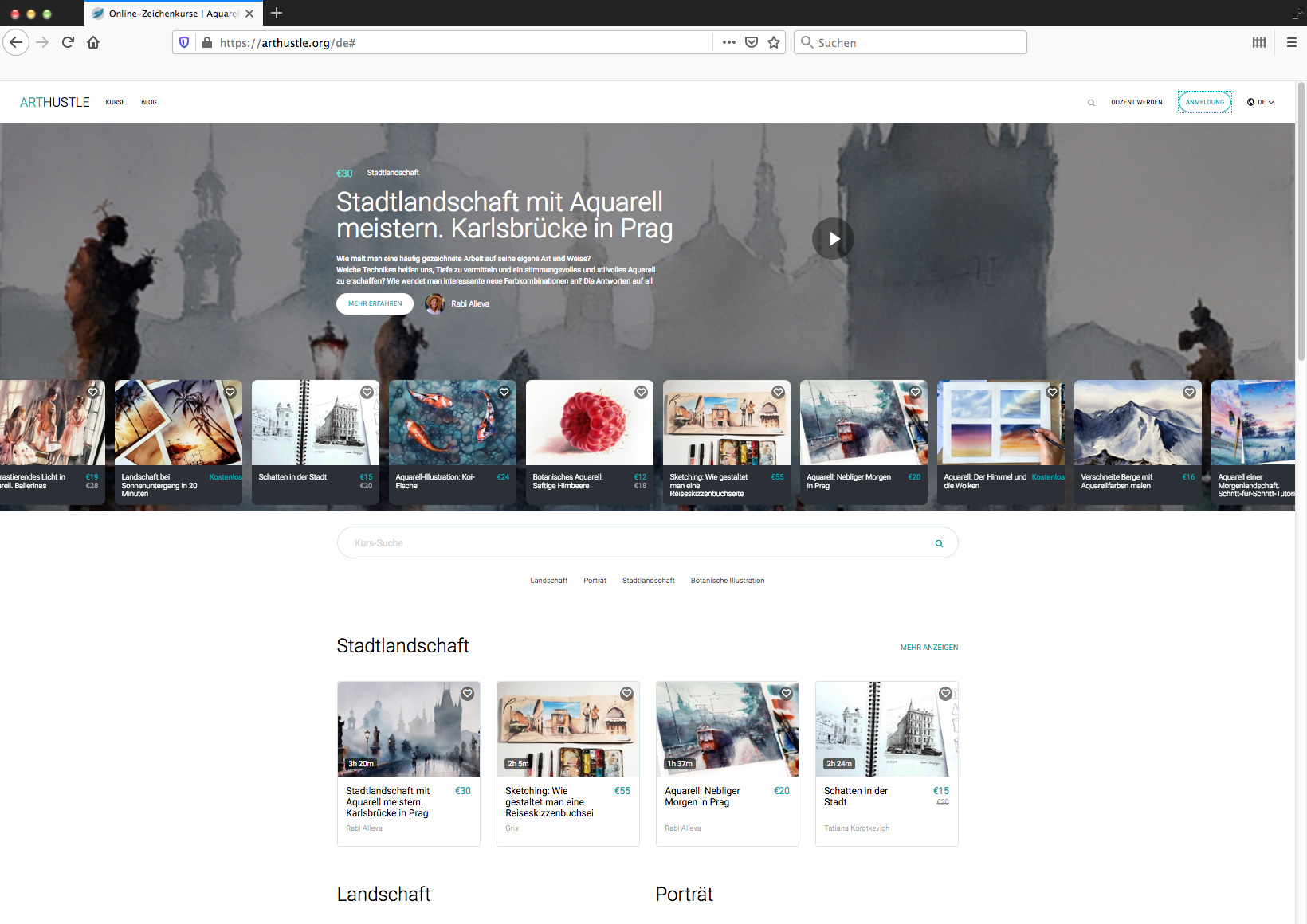 Die Startseite von ArtHustle.org mit einer Übersicht der aktuellen Videotutorials