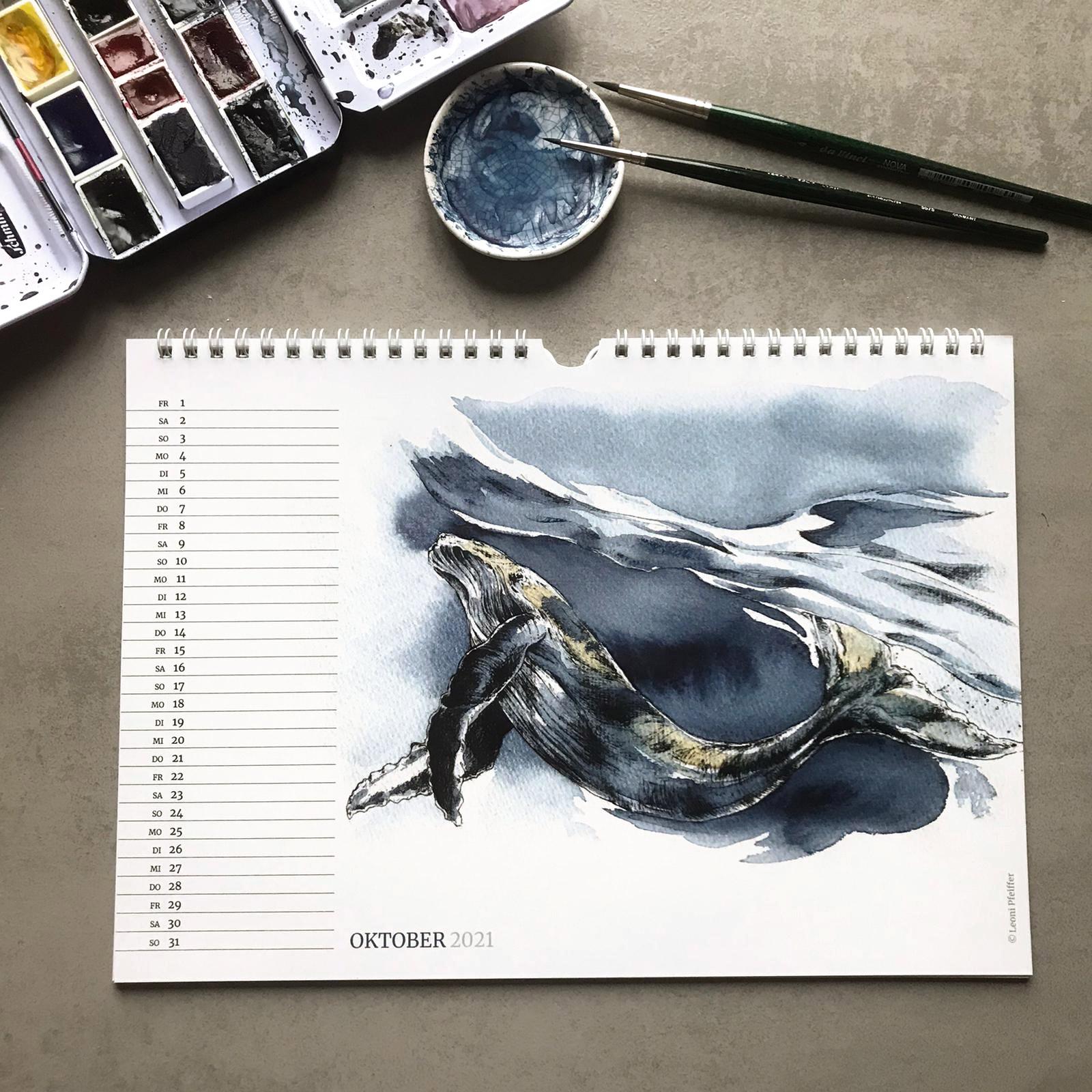 Kalenderblatt Oktober - der Tanz unter den Wellen des Buckelwales