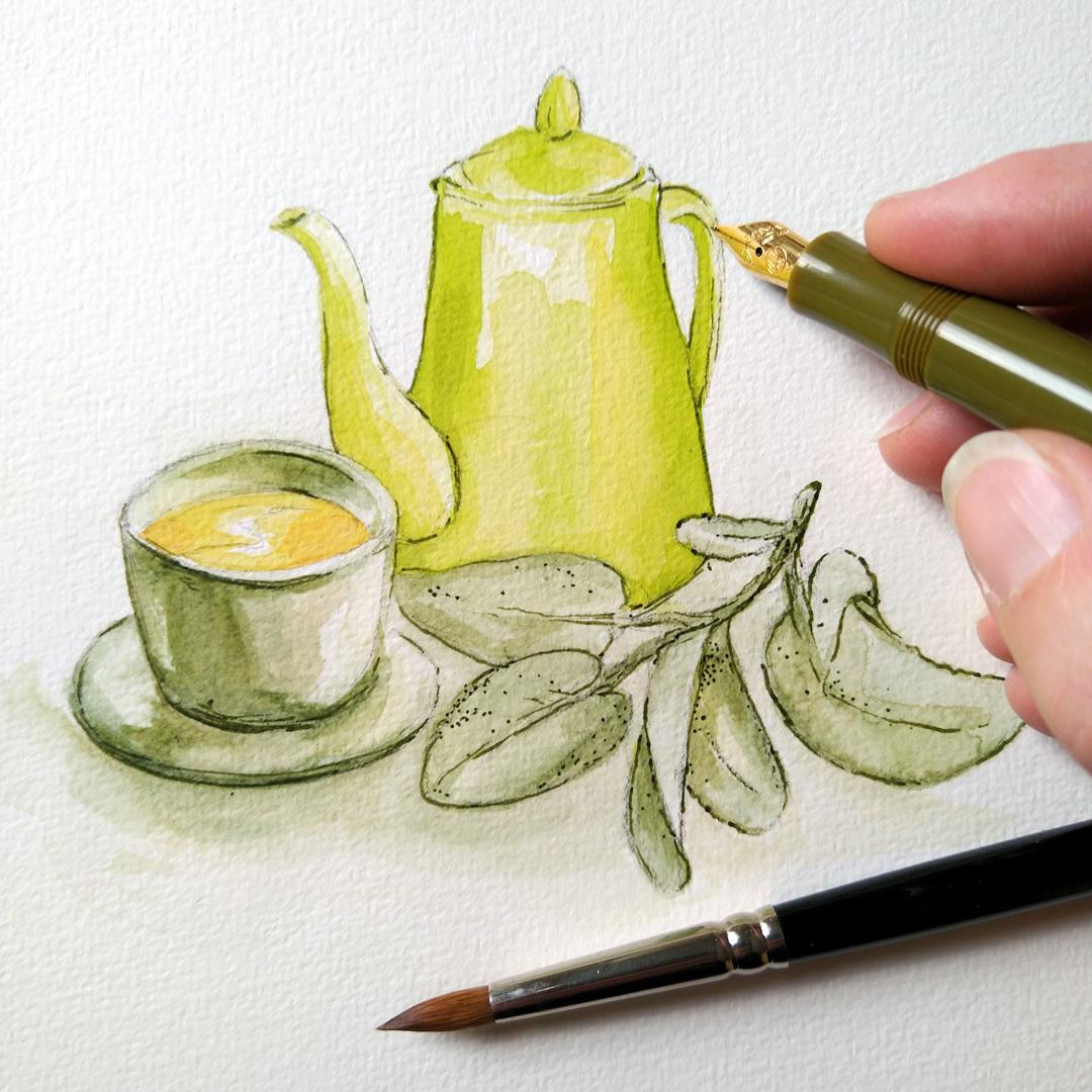 """Eine Tasse Tee mit Salbei und eine Kanne mit den Farben """"Grüne Erde"""" und """"Zinnober Grün Hell"""", Outlines mit grüner Super5 Tinte aus dem Kaweco Sport Füller."""