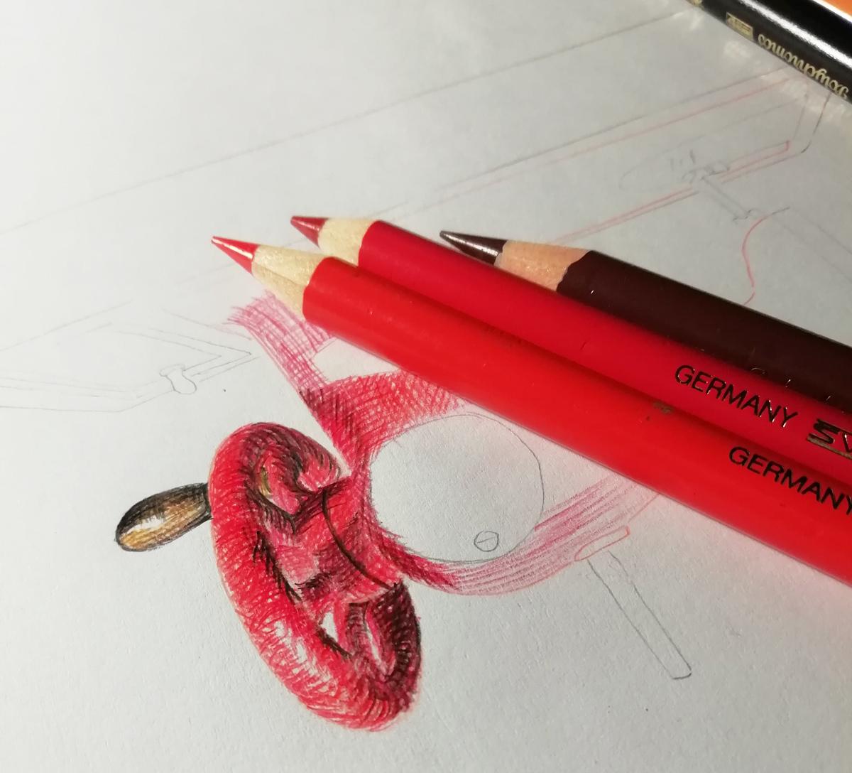 Anna beginnt die Illustration mit roten Polychromo Buntstiften und Schraffuren.