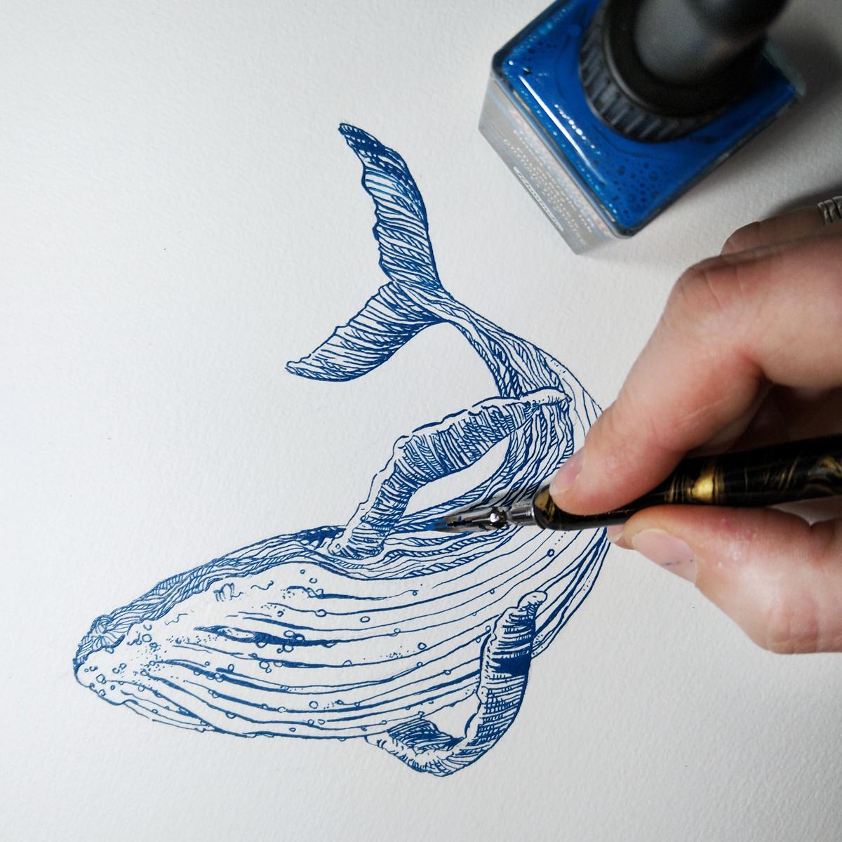 Altes neu entdecken: Zeichnen mit Feder und Acryltinte.
