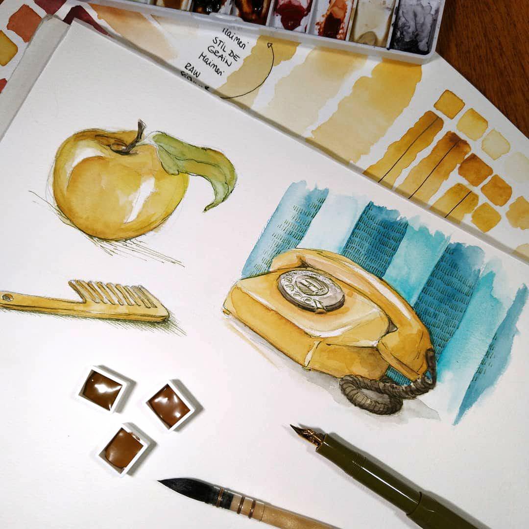 Erste Versuche mit Lichter Ocker, einem deckenen Orangebraunton, dazu dunkelgrüne Tinte aus dem Füller.