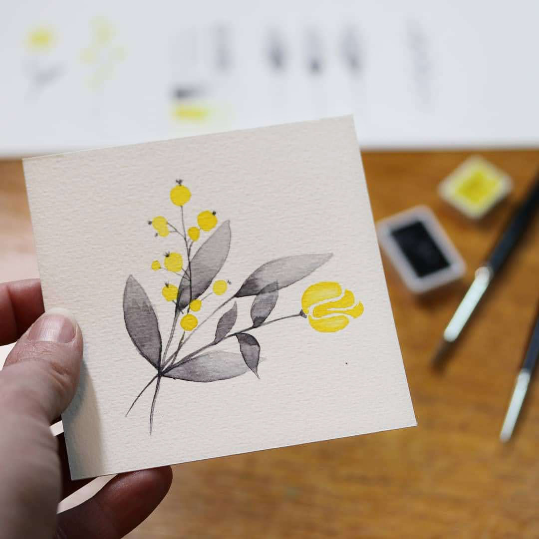 Pantone Farben des Jahres 2021 als Blumensträusschen, gemalt nach dem Live-Stream von Mrs.May
