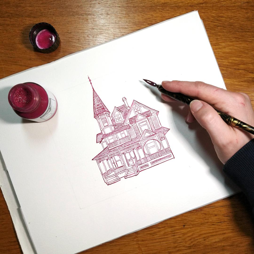 Fertige Zeichnung des viktorianischen Hauses mit Zeichentusche von Rohrer und Klingner in Magenta.