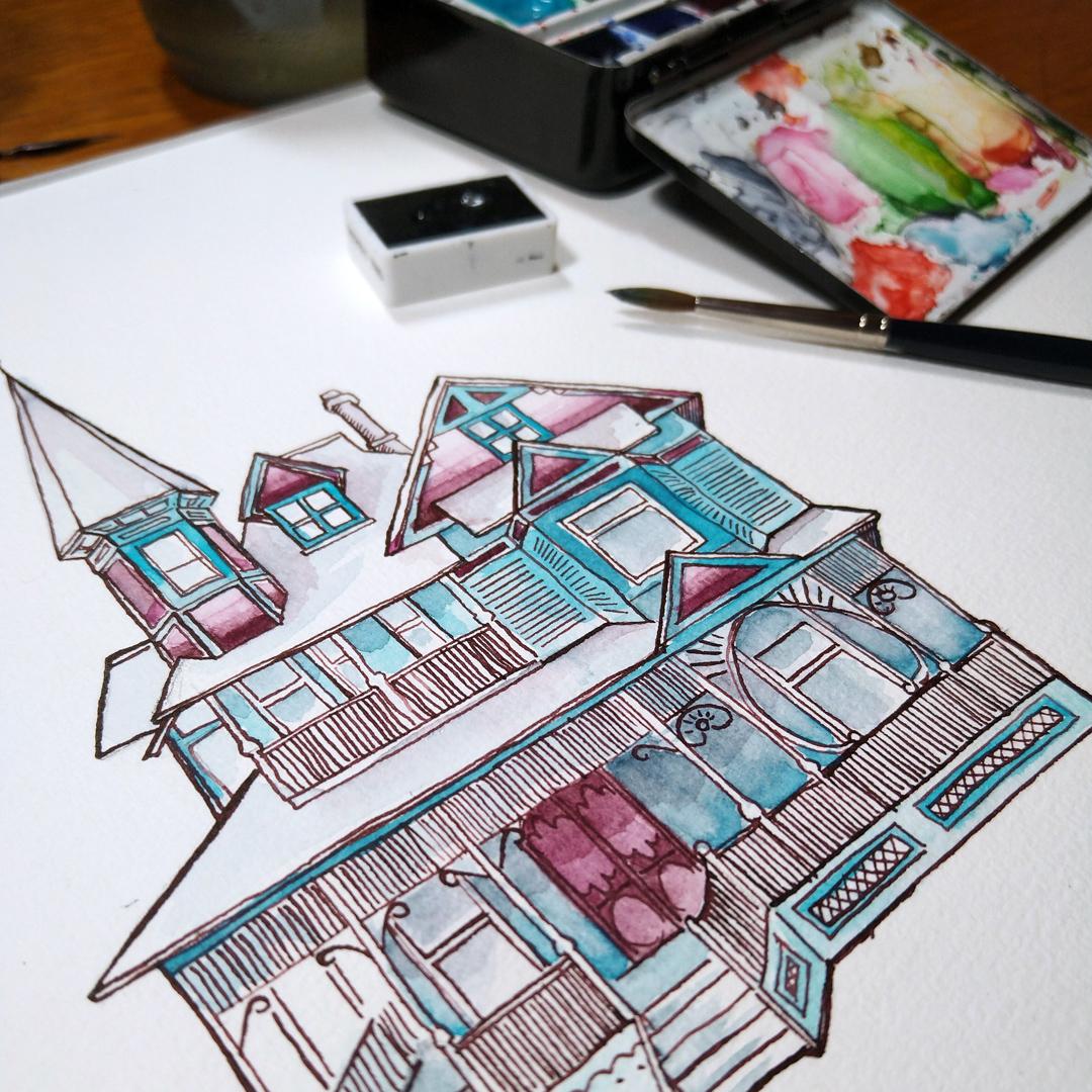 Dunklere Tinte und durch das Beimischen von Neutralgrau entsättigte Farben: die zweite Version des viktorianischen Hauses.