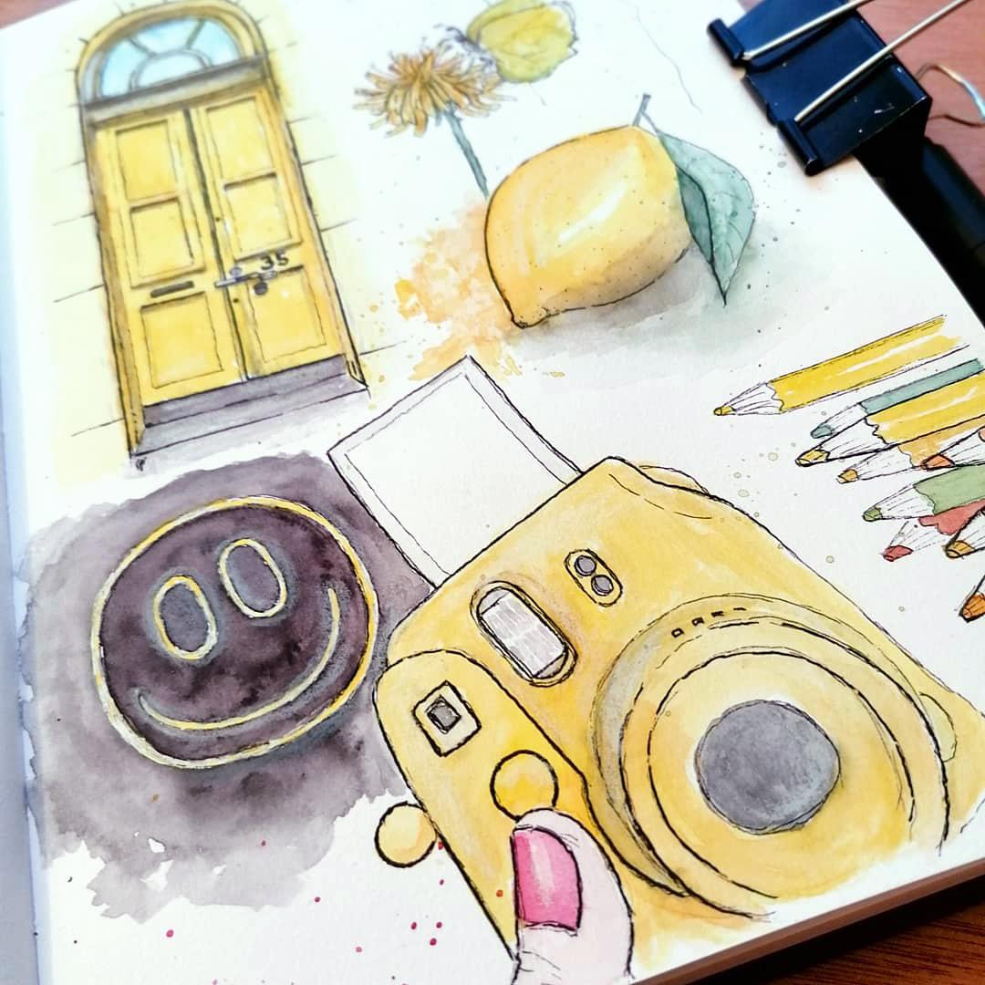 """Ein genauer Blick auf die """"Gelbe Seite"""" im Skizzenbuch von Stella für die #offroadARTchallenge"""