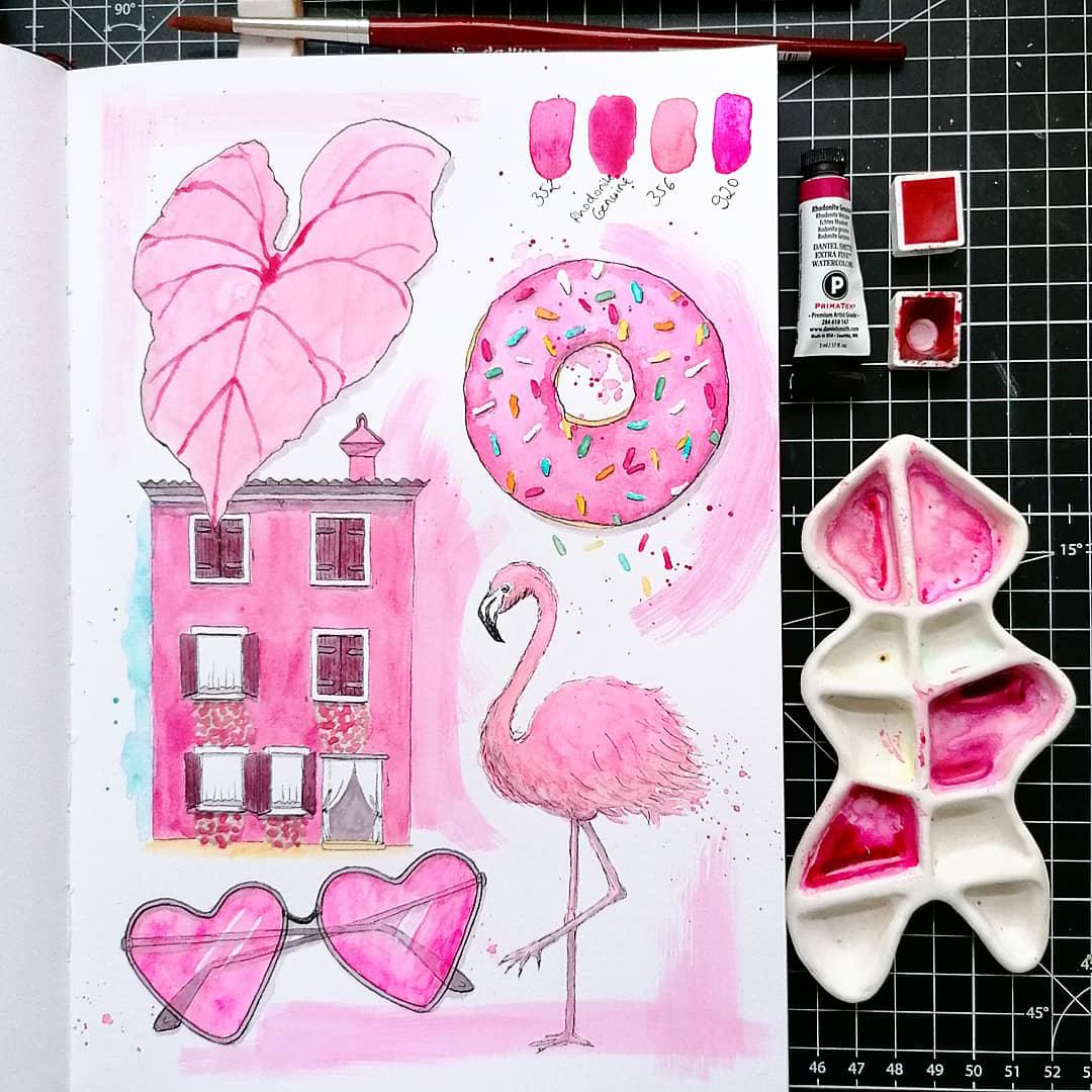 Vier Farben Pink im Skizzenbuch von Stella.
