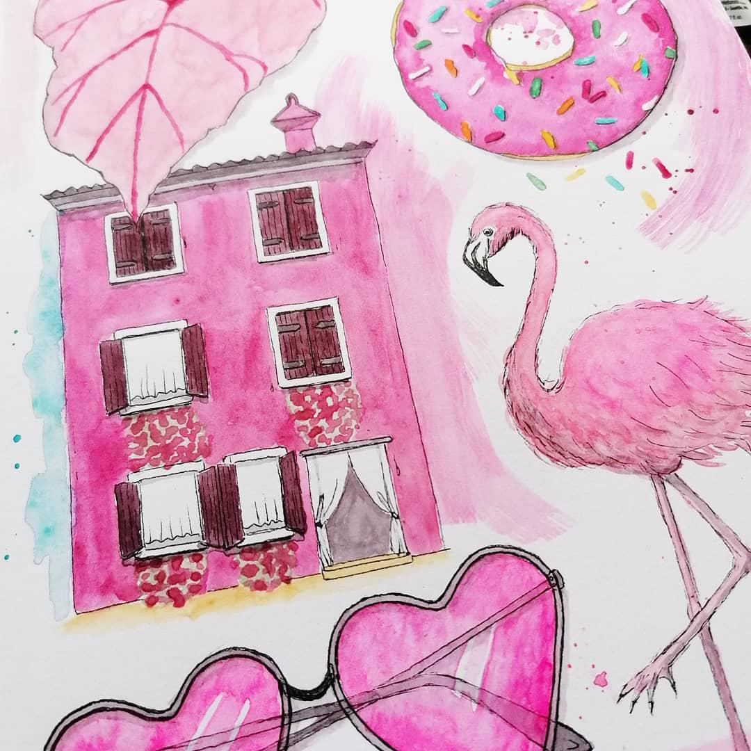 Pink, Magenta und Opern Rosa in verschiedenen Motiven.