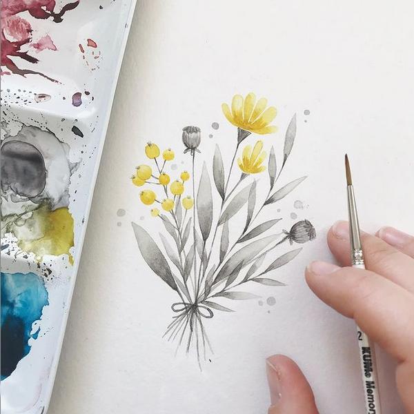 Ein Blumenstrauß in den Pantone Farben des Jahres 2021: Ultimate Grey und Illuminating Yellow