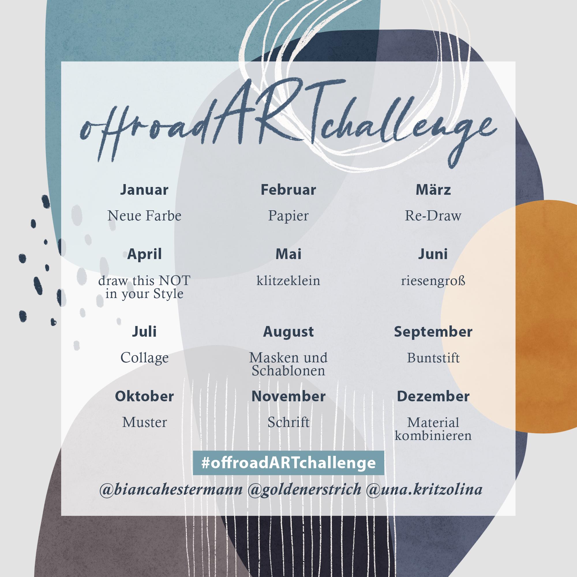 offroad ART challenge Übersicht der Themen für unsere Instagram-Challenge für das Jahr 2021