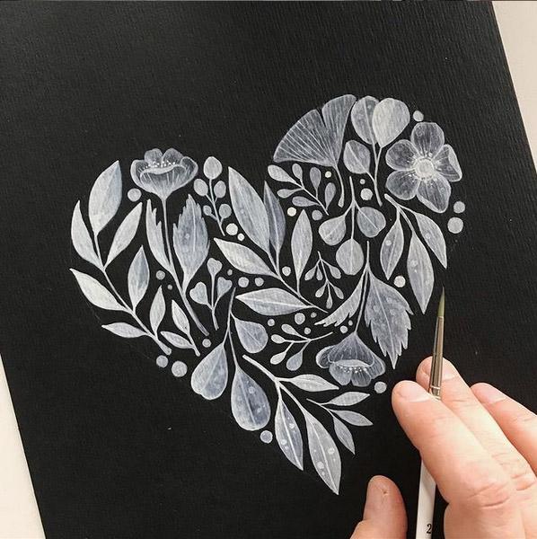 Umgekehrt denken, umgekehrt malen: Mit weißer Farbe auf schwarzem Aquarellpapier.