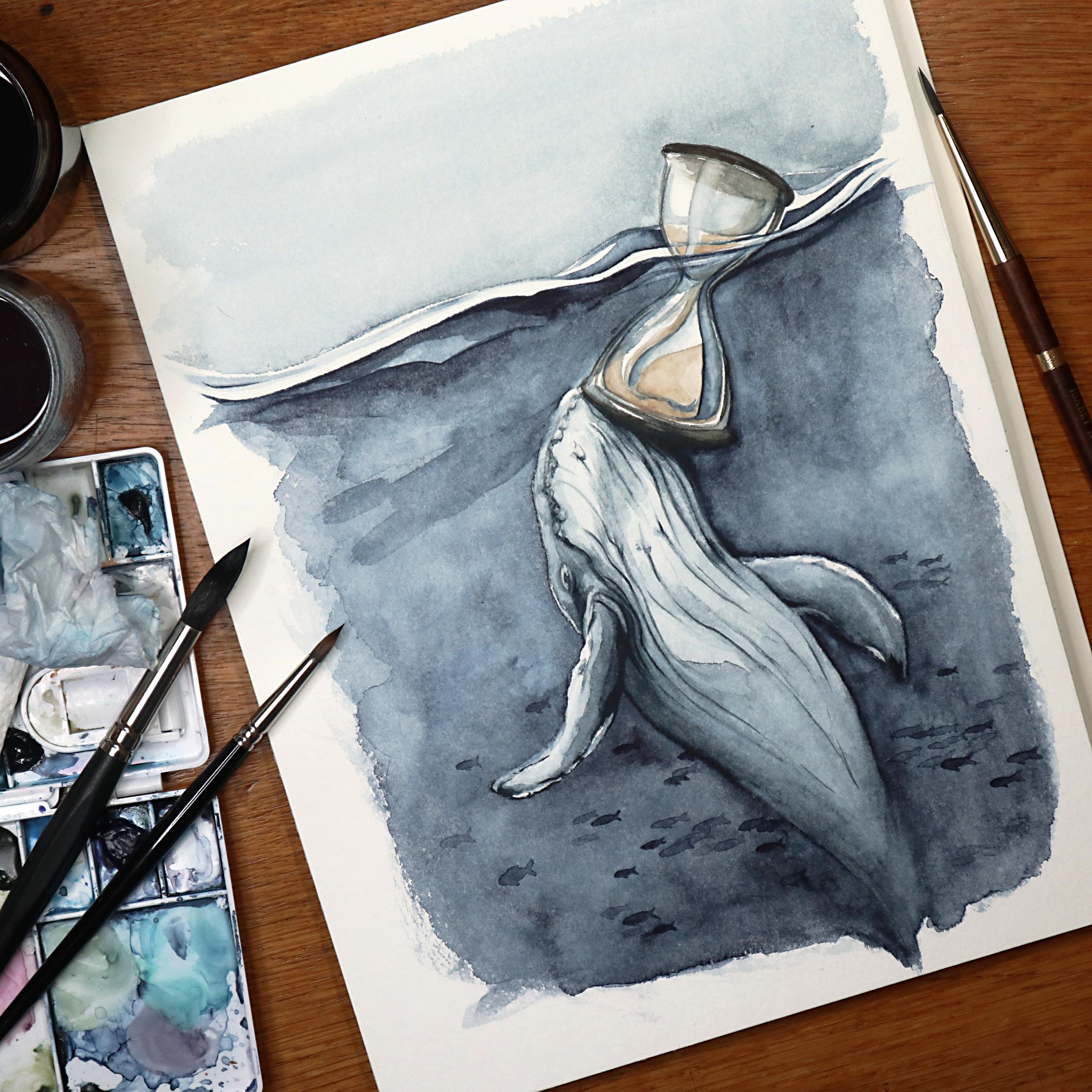 Surrealistisch angelehnte Aquarellillustration eines Wales, der eine Sanduhr an der Meeresoberfläche anstößt.