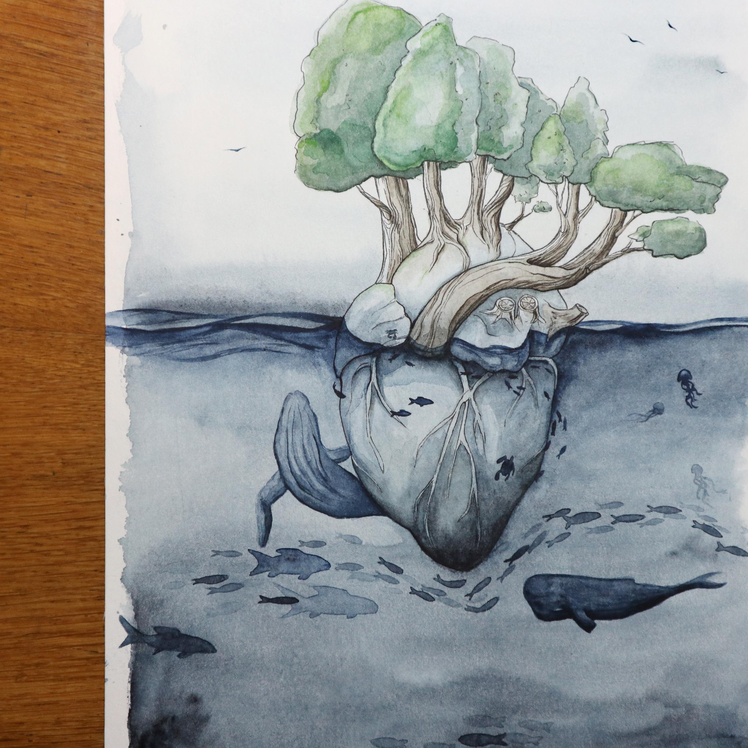 Fertige Illustration zum Wort-Drilling Ozean+Baum+Herz