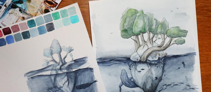 Grobe Skizze mit Bleistift und Aquarellfarbe neben der ausgearbeiteten Illustration mit Tusche und Farben.