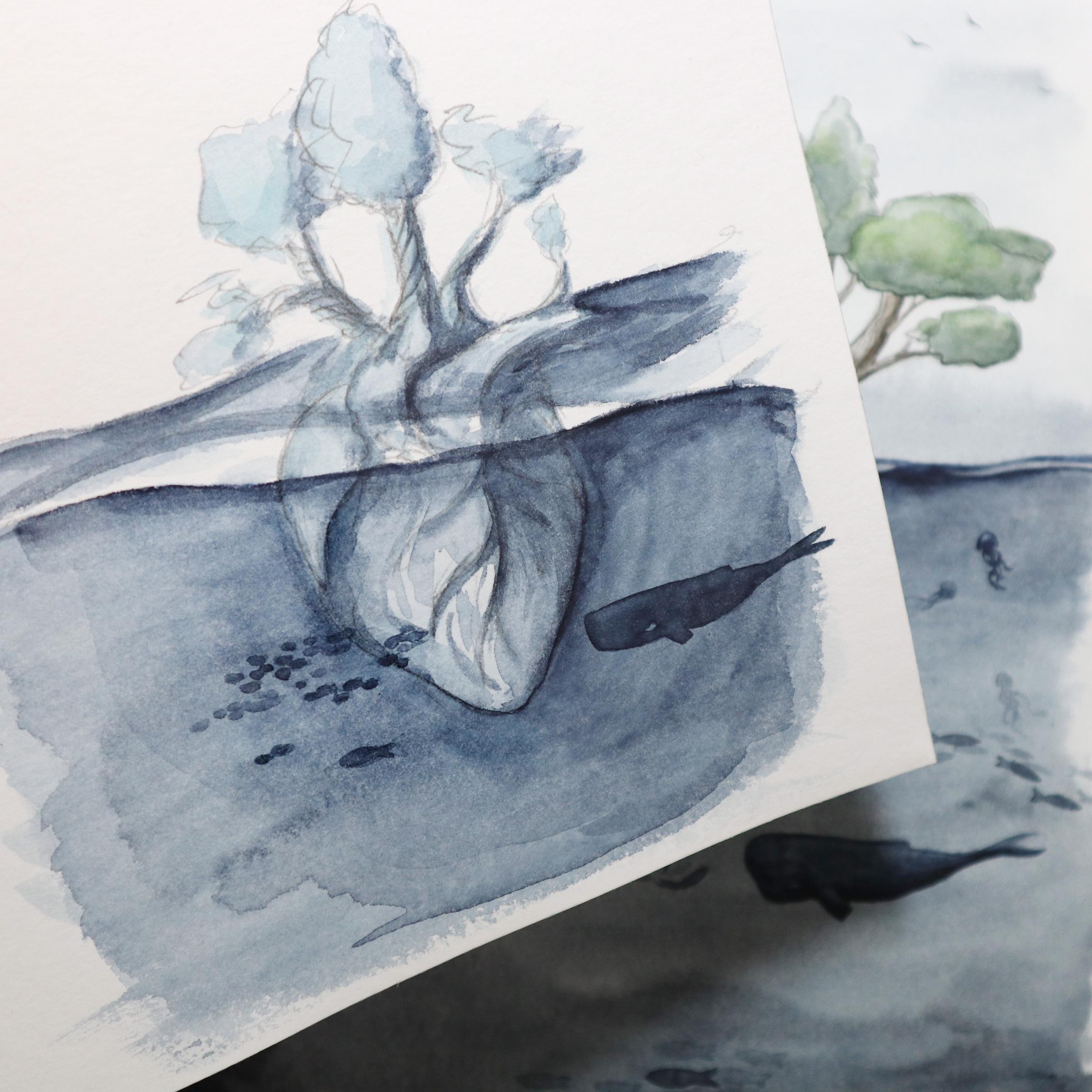 Grobe Skizze mit Bleistift und Aquarellfarbe um die Idee aus dem Wortgenerator einmal festzuhalten.